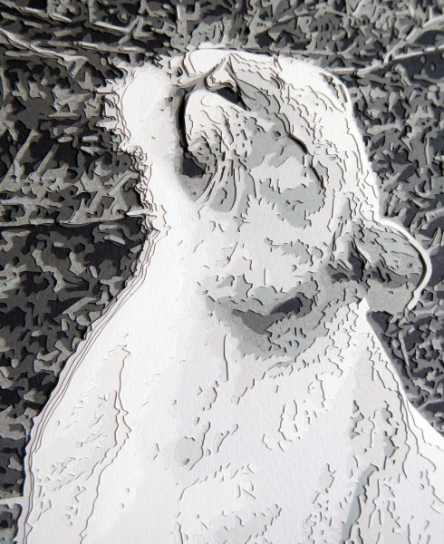 A close-up of the Lioness reveals the different layers of paper used to create the image.